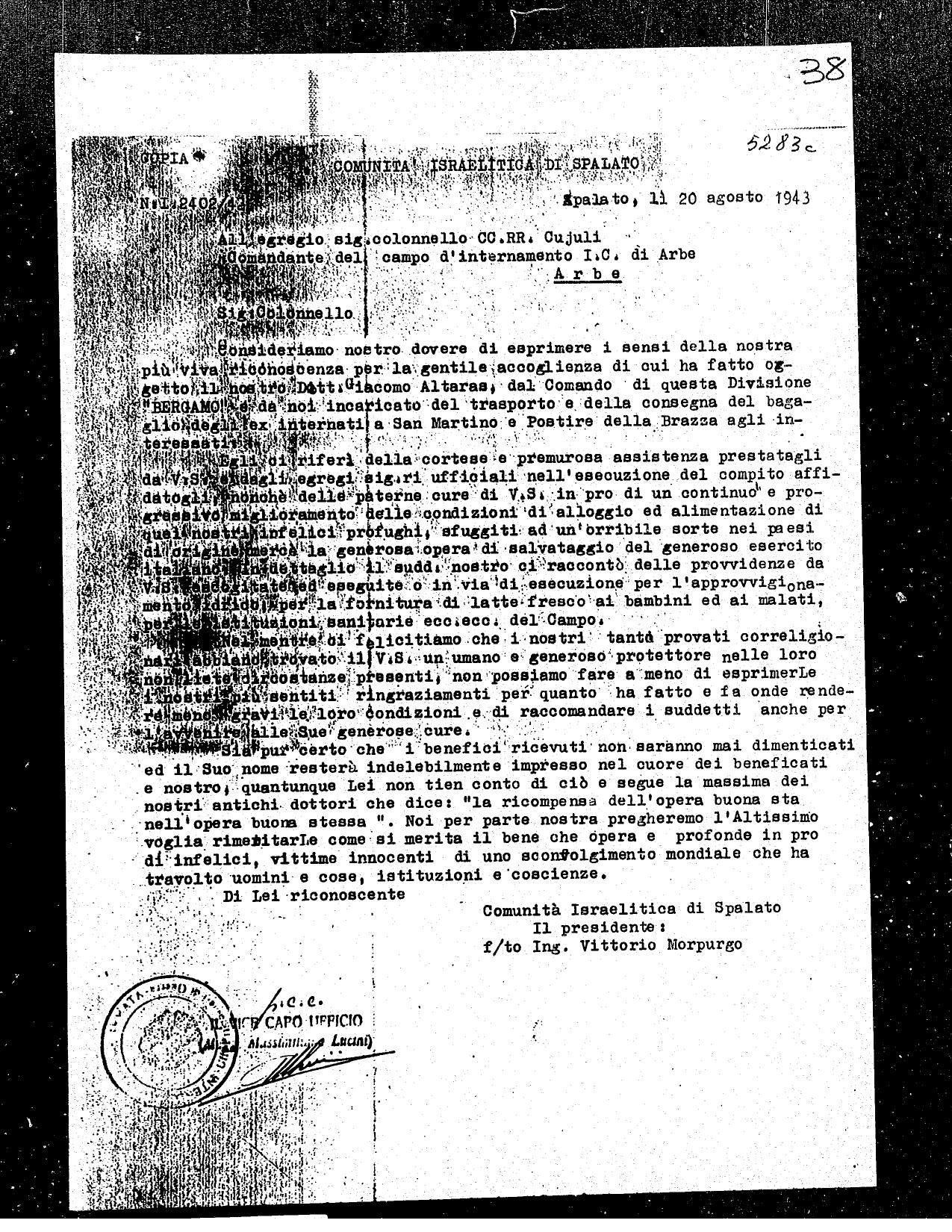Morpurgo, Vittorio Jewish community of Split letter 1943