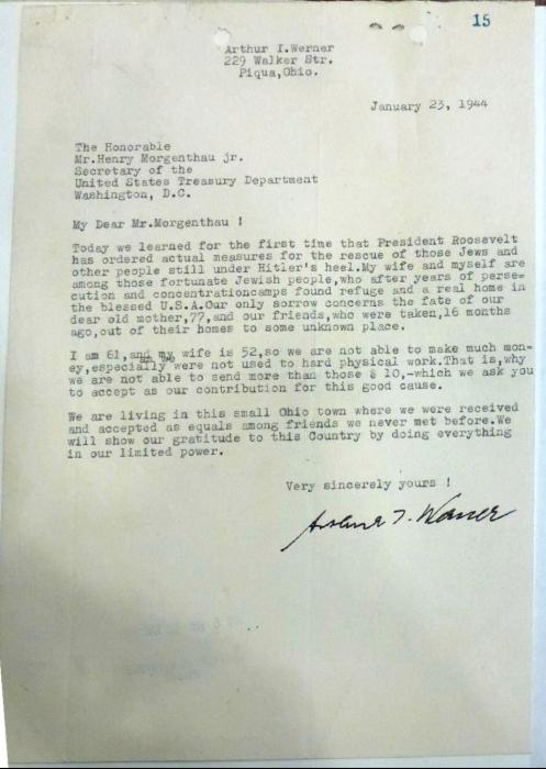 Werner, Arthur letter to War Refugee Board 1944