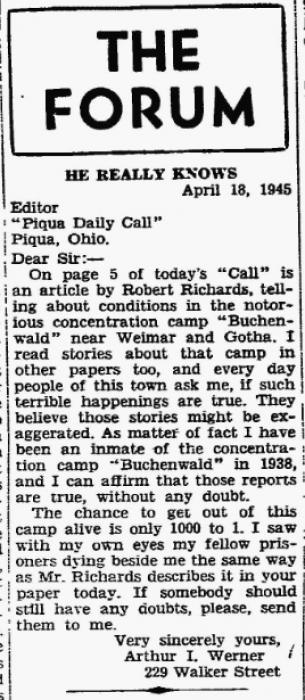 Werner, Arthur letter to the editor Piqua Daily Call 1945