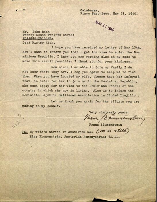 Blumenstein, Franz to American Friends Service Committee 1940-1945