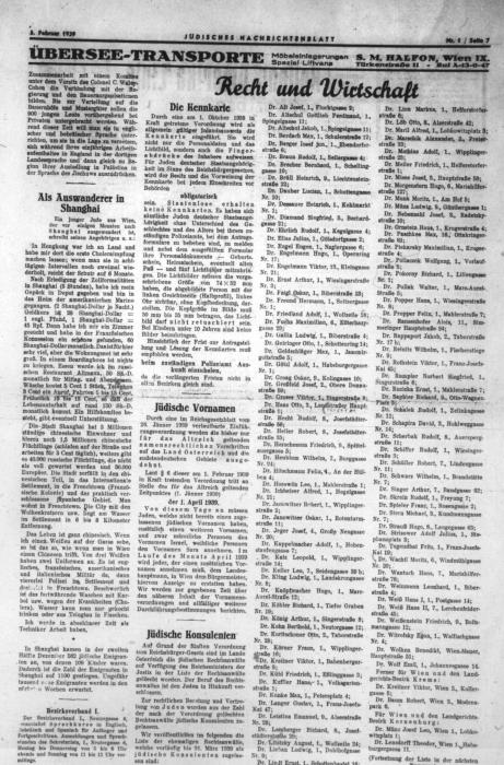 As an emigrant in Shanghai, Vienna Jüdisches Nachrichtenblatt, newspaper article 1939