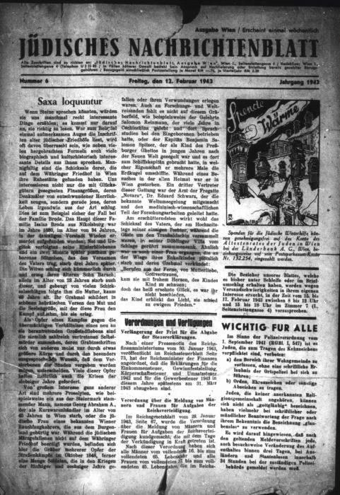 Saxa loquuntur, Vienna Jüdisches Nachrichtenblatt, newspaper article 1943