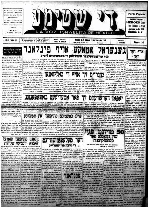 Fifty thousand pesos already collected for the war victims, Di shtime/La Voz Israelita de Mexico, newspaper article 1940