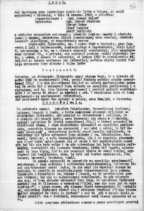 Sentencing of Aleksander Eintracht 1948