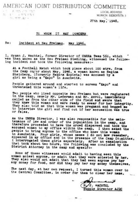 Wachtel Report Incident at Neu Freiman 1946