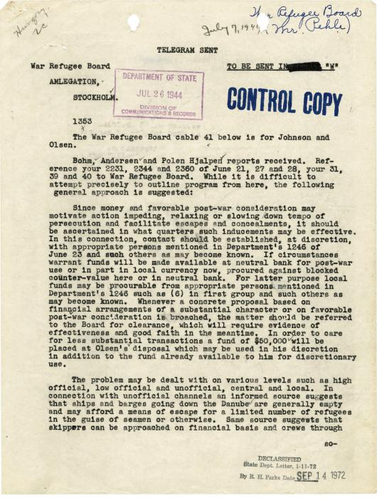 WRB instructions for Raoul Wallenberg