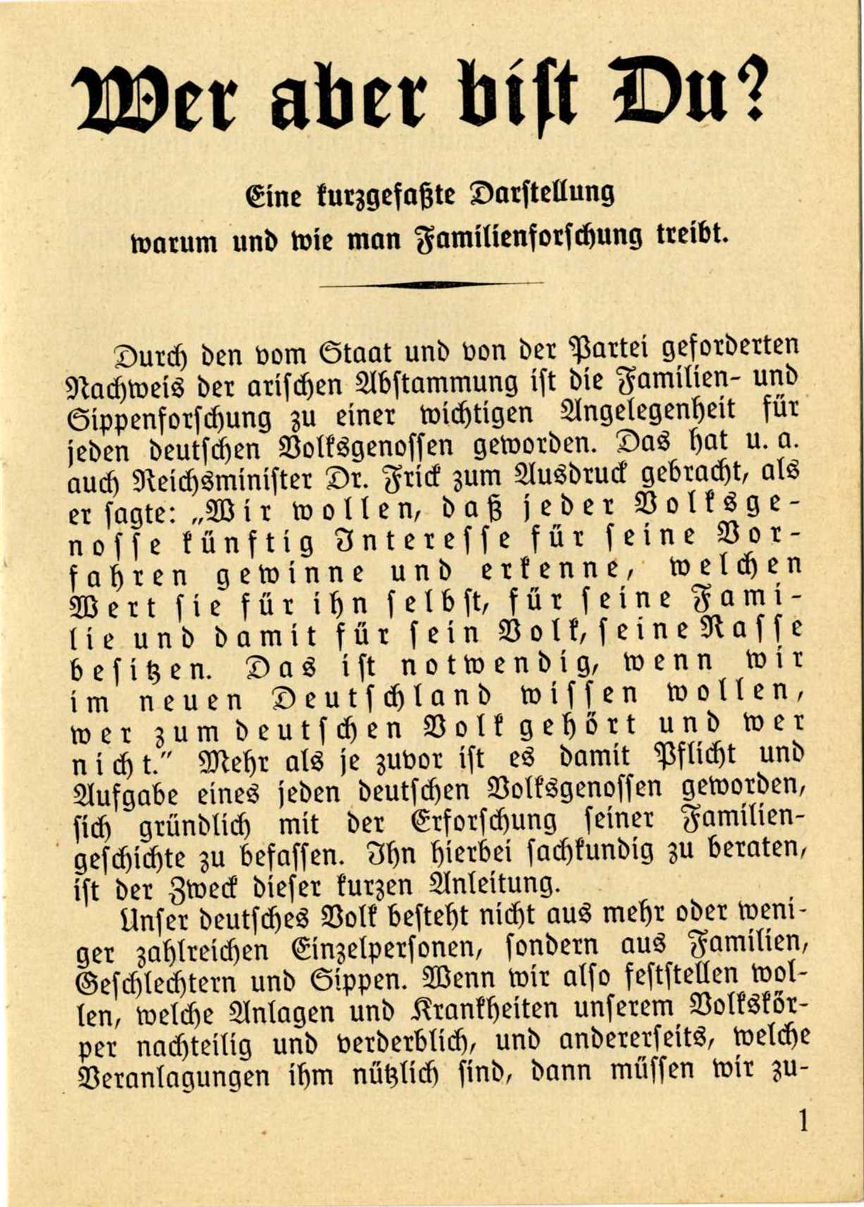 This German ancestry book encouraged Germans to document the so-called purity of their genetic heritage.
