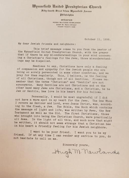 Reverend Newlands to his Jewish Neighbors