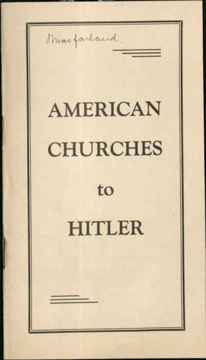 American Churches to Hitler