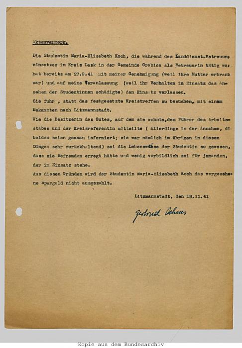 Memo regarding Marie-Elisabeth Koch