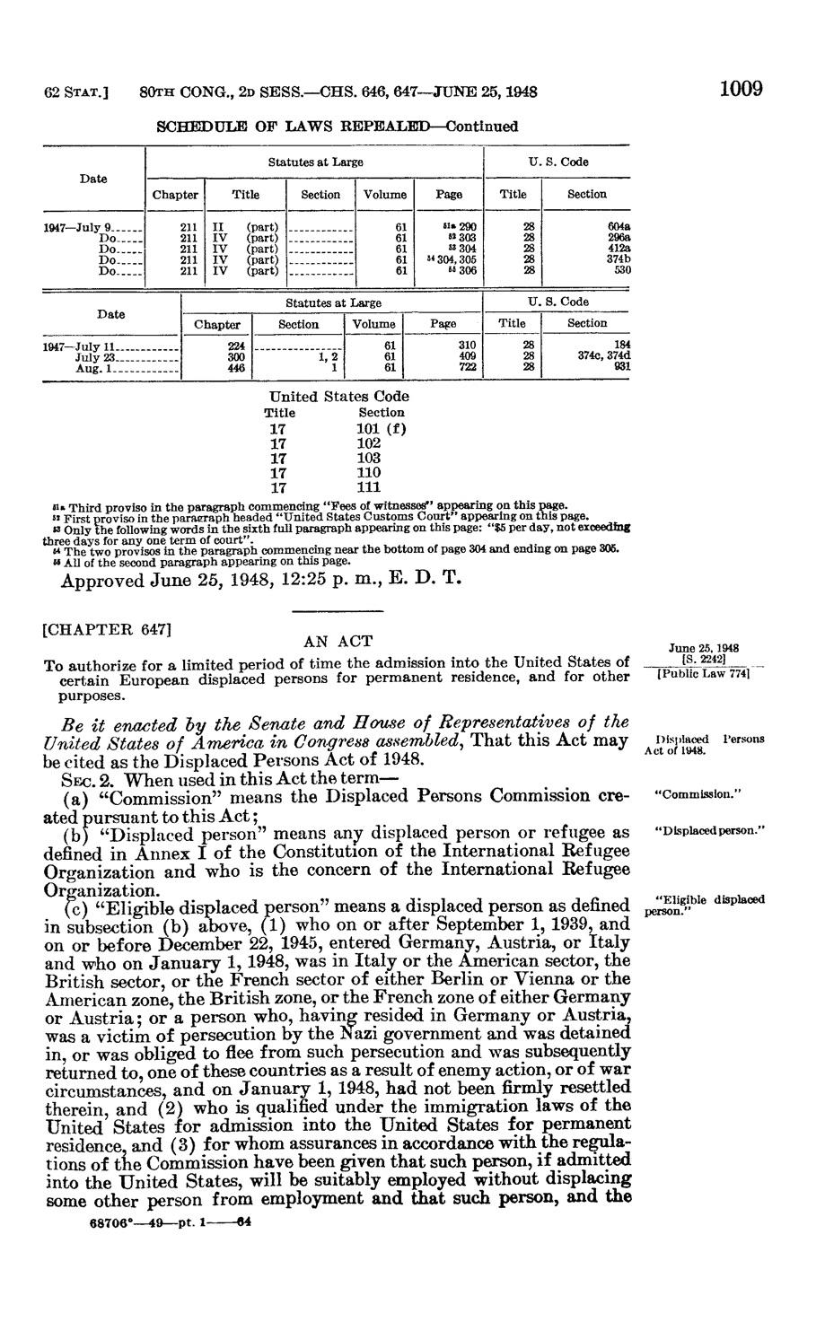 DP Act 1948