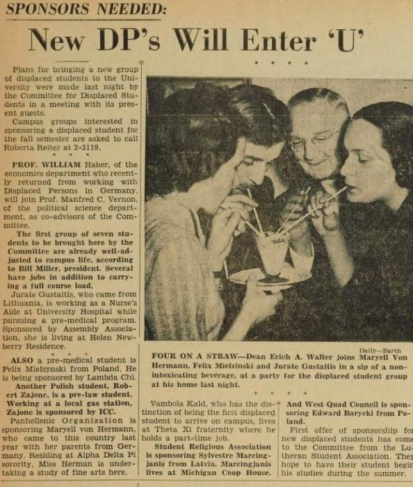 This University of Michigan student newspaper article from April 1949 documents efforts by students to secure support for Displaced Persons entering the university.
