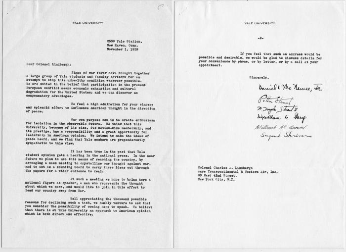 Yale Lindbergh Letter