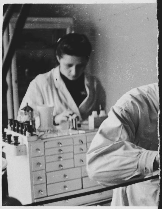 The featured photographs show Lala Grunfeld, who concealed her identity as a Jew while working in the Warsaw office of an SS doctor.
