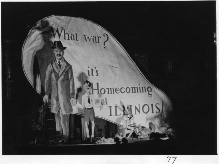 This photo captures homecoming decorations designed by students at the University of Illinois that comment on the outbreak of World War II in 1939.