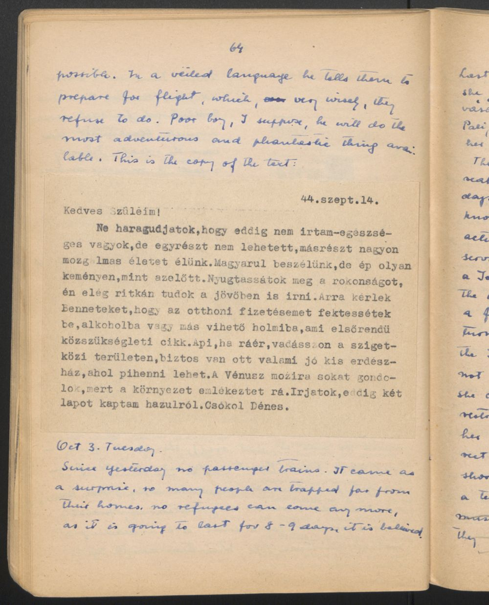 These pages from the diary of Dr. Maria Madi describe her internal struggle with her response to the persecution of a Jewish colleague at a clinic in Budapest, Hungary.