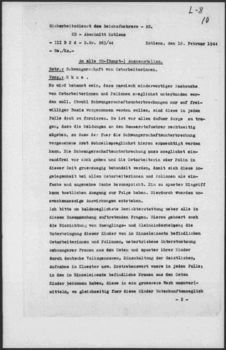 German occupation authorities announce a new policy dictating forced abortions for pregnant forced laborers.