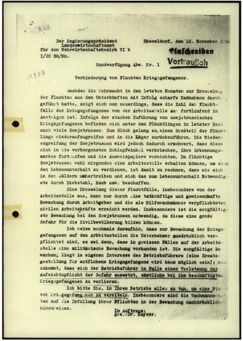 German occupation authorities criticize local businesses for failing to prevent foreign POW laborers from escaping their worksites.