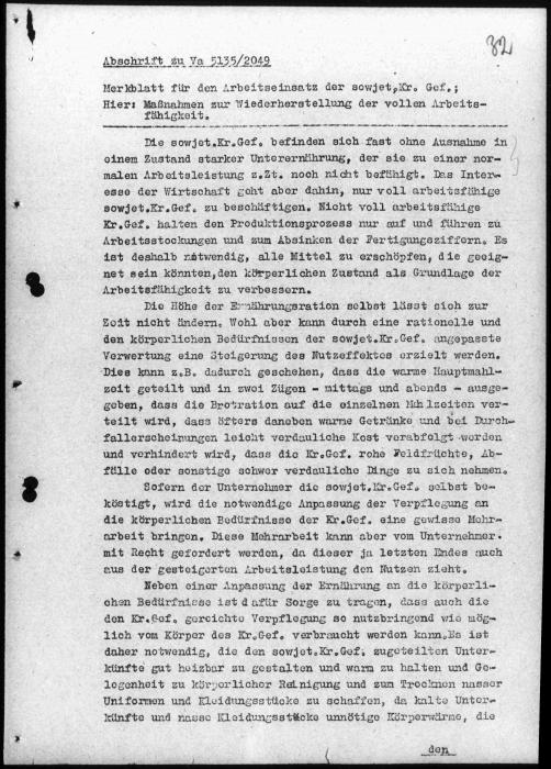 This leaflet, written and distributed by the German army high command in December 1941, announced the authorities intention to exploit Soviet prisoners of war for forced labor.