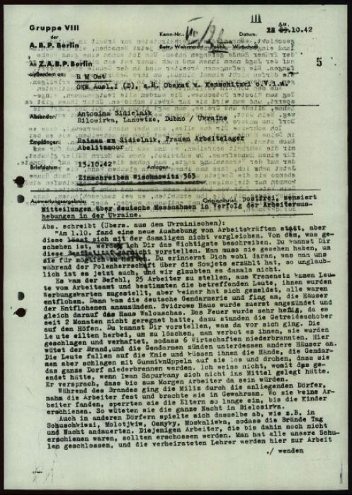In the featured letter to a family member working in Germany, a Ukrainian woman named Antonina Sidielnik described a raid by German forces on her home village.