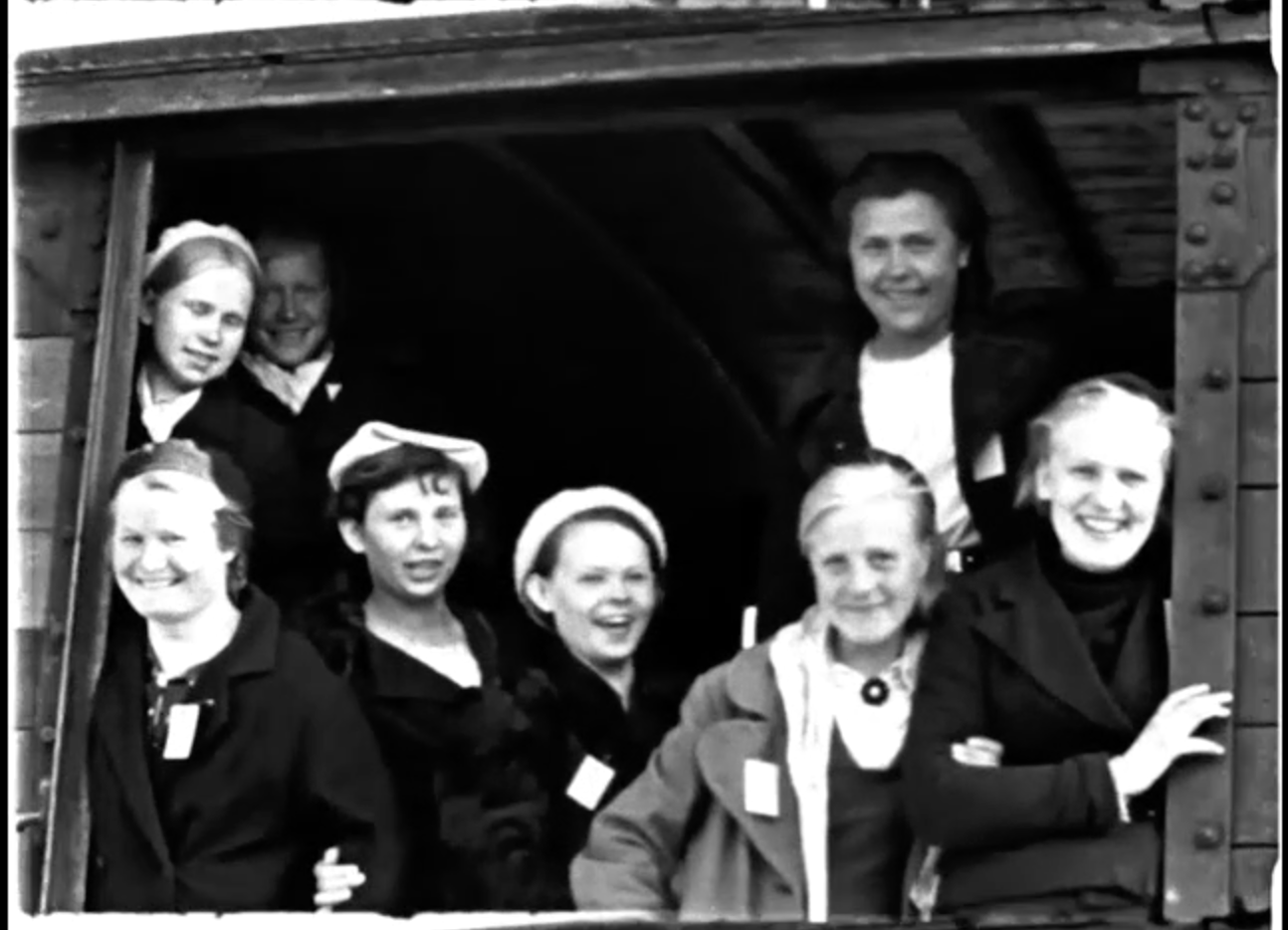 This 1942 film documents the transport of a large group of forced laborers from the Soviet Union to a border station and army processing point in German-occupied Lithuania.