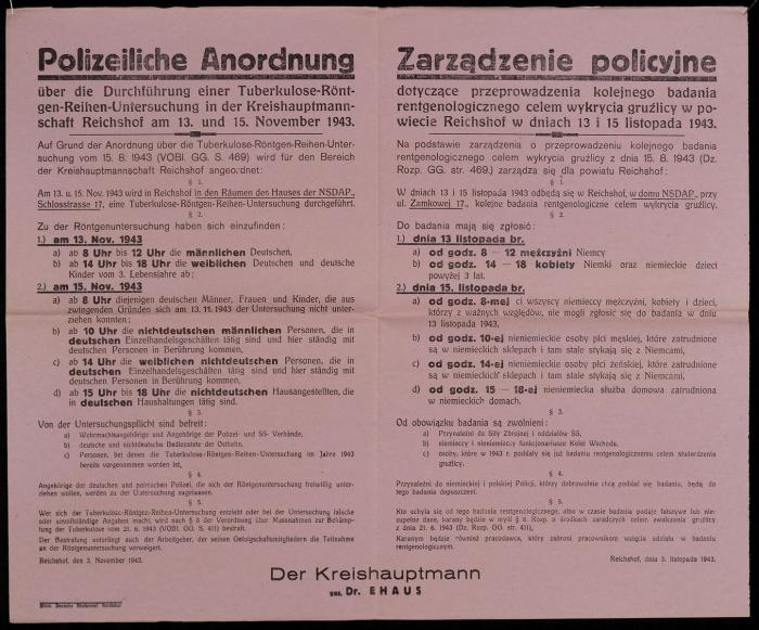 An order from German authorities announces mandatory X-ray screenings in occupied Poland.