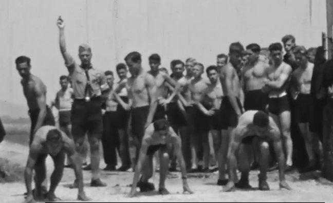 This film captures young recruits performing training exercises in a Hitler Youth camp.