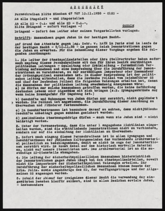 Heydrich Order on Measures Against the Jews