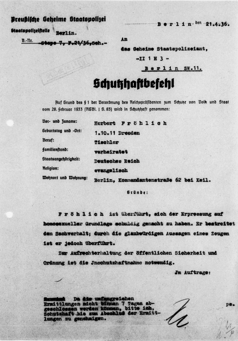 Protective custody order for Herbert Fröhlich from the Berlin Police.