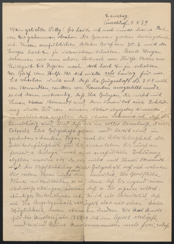Malsch, Amalia letter 1939
