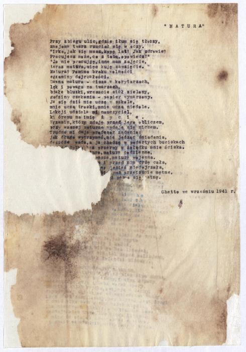 Szlengel, Władysław final exam poem 1941