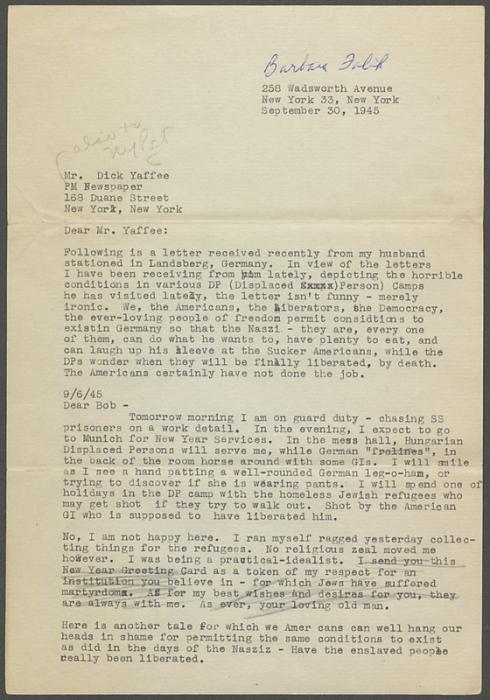 Falik, Barbara letter 1945