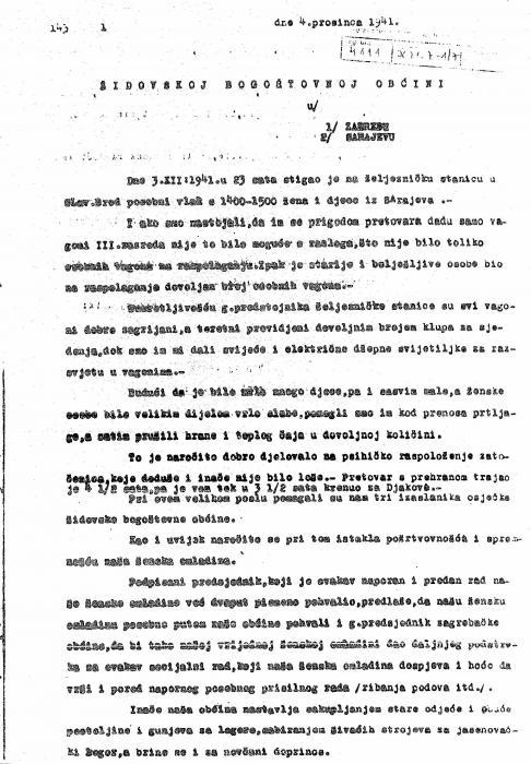 Brod na Savi Jewish community letter 1941