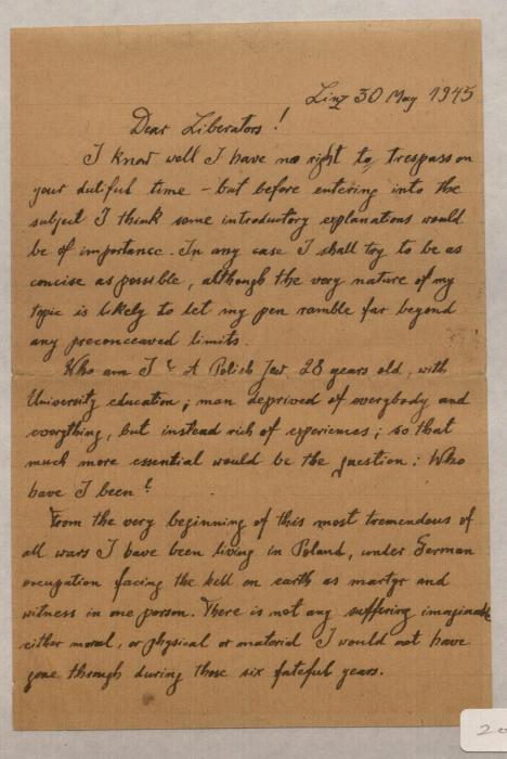 Lewy, Julius letter 1945