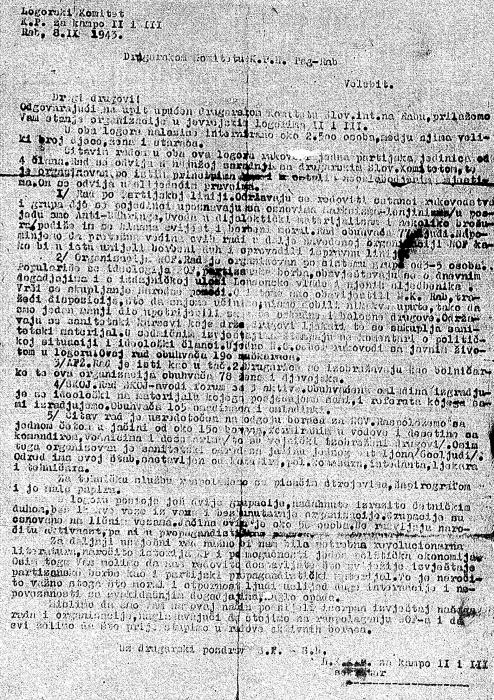 Camp Committee of the Communist Party of Yugoslavia for the Jewish Rab Camp, report 1943