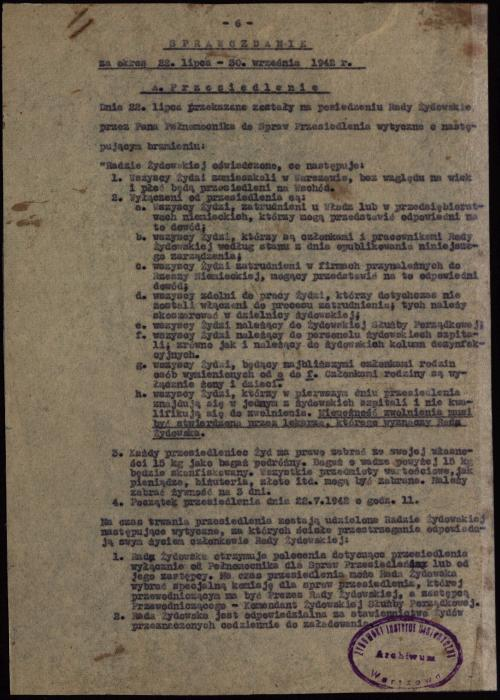 Jewish Council, Warsaw report 1942