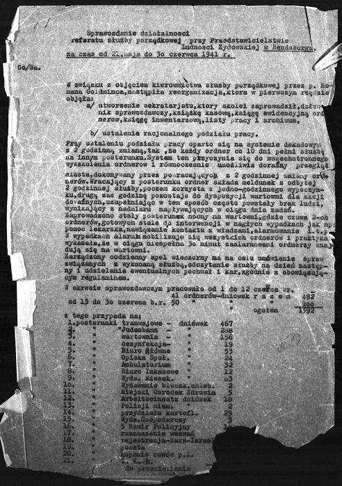 Jewish Council, Będzin, report on Jewish police 1941